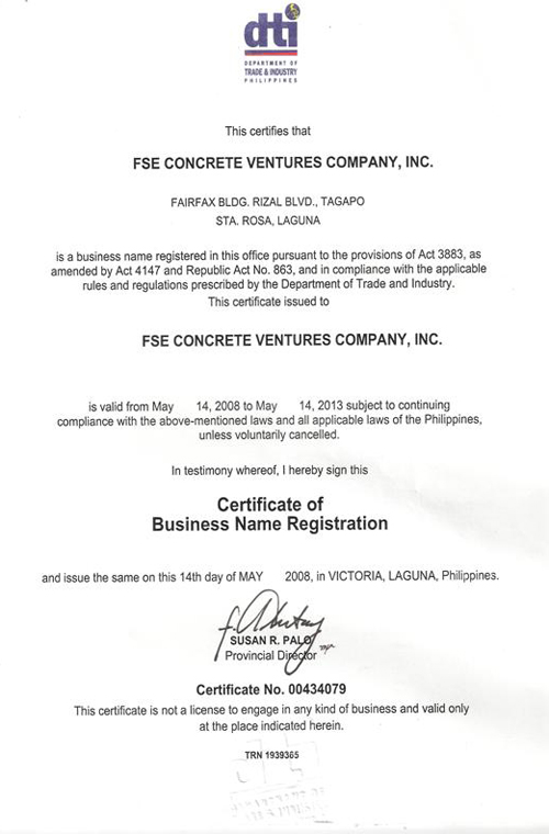 Fse Concrete Ventures Company Inc